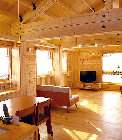 対面キッチンから眺める2階リビングの風景が美しい家